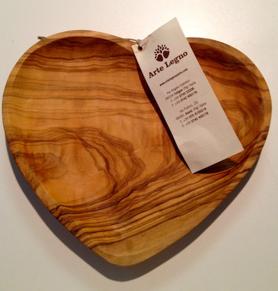 Heart shaped Olive wood dish